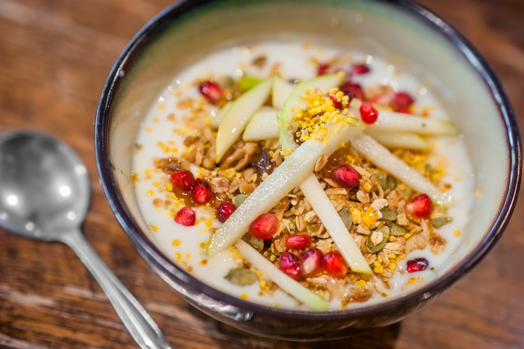 agave yogurt with local bee pollen